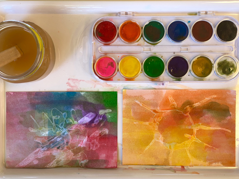 Glue resist watercolour paint tray at How we Montessori
