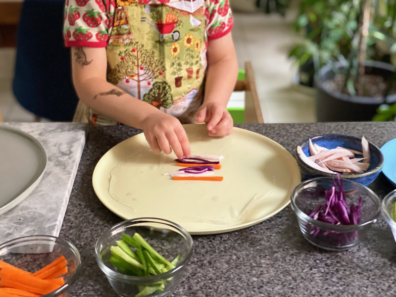 Vegetable and chicken rice wraps at How we Montessori
