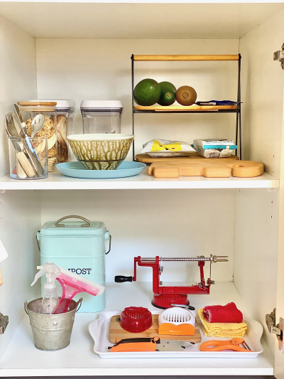 How we Montessori snack kitchen shelves for three year old Sydney 2021 (2)
