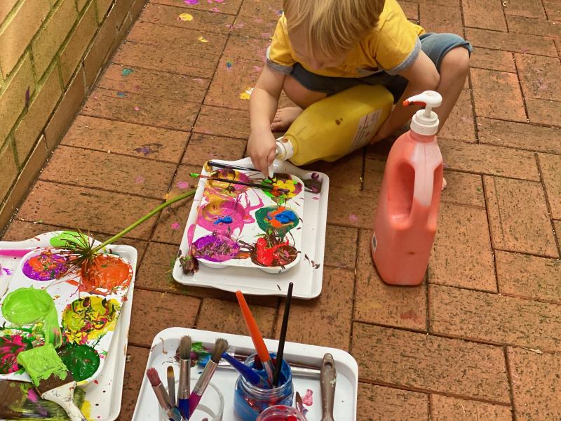 An abundance of paint at How we Montessori