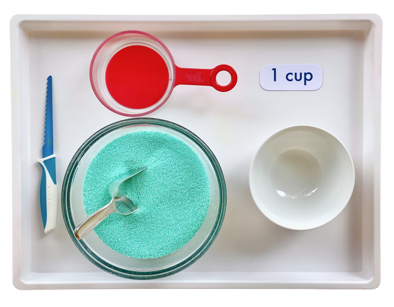 1 cup measuring at How we Montessori practical life at three years