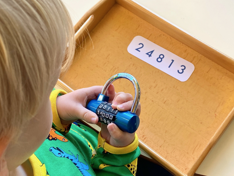 Using a combination lock practical life activity at How we Montessori (2)
