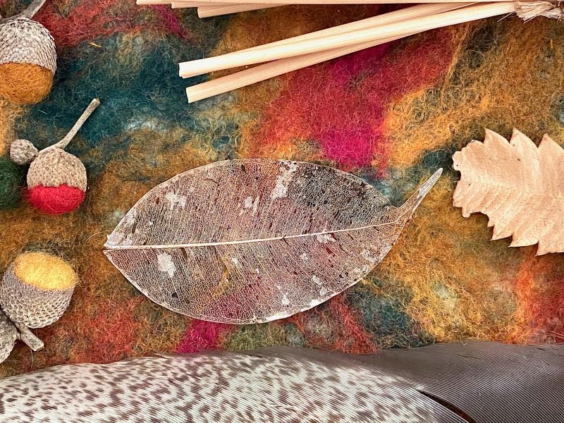 Skeleton leaf on Autumn nature seasonal table at How we Montessori
