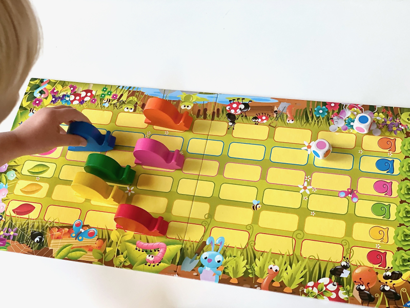 Snail Pace Game counting cooperative game at How we Montessori