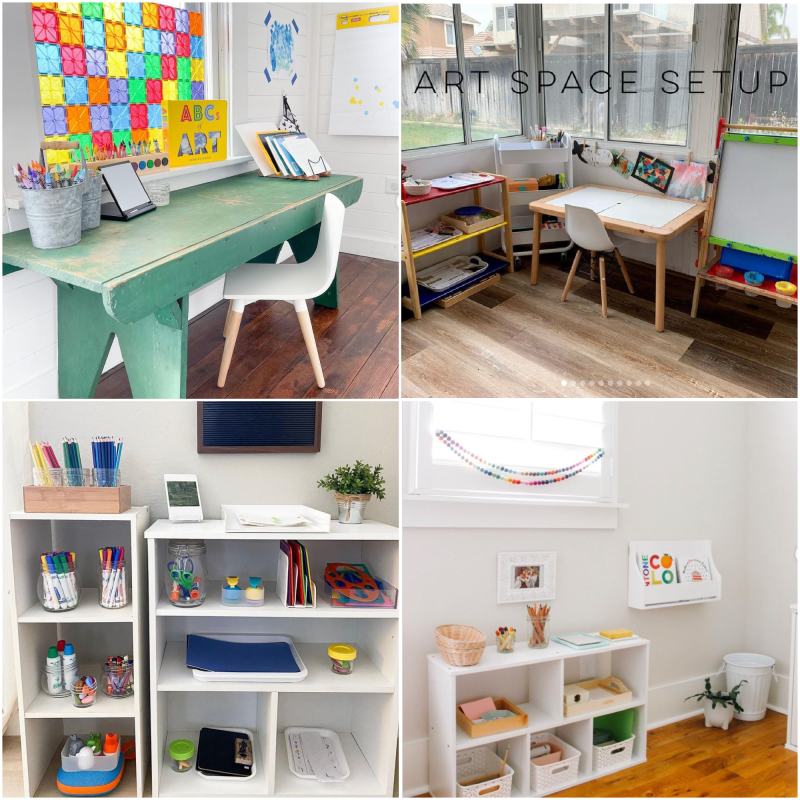 Art shelves in Montessori Homes toddler to preschoolers