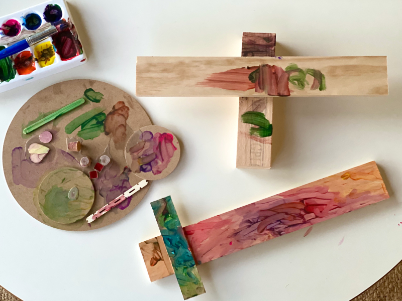 Otto's woodworking at three years at How we Montessori