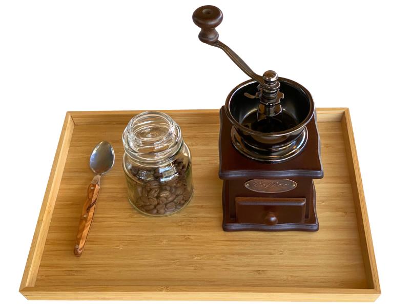 Montessori coffee grinder at How we Montessori practical life coffee tray