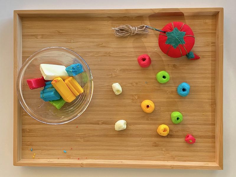 FIMO beads at How we Montessori tray activity at three years
