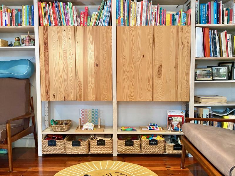 Montessori shelves in small living area make over Sydney Australia