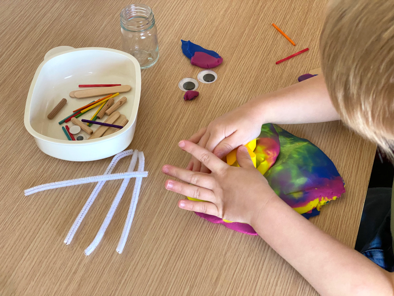 Travel playdough at How we Montessori for three year old