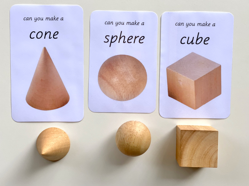 Play dough geometric 3D shapes  can you make a cone  sphere  cube at how we Montessori
