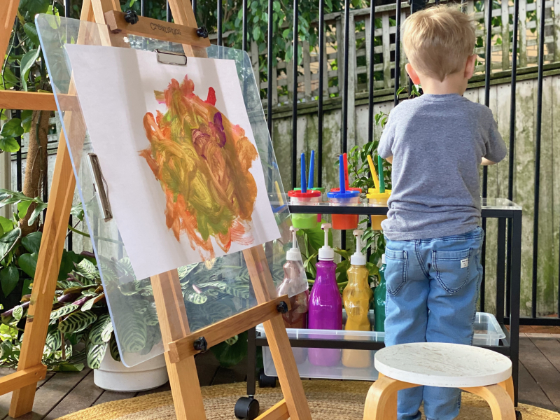 Montessori paint station easel for kids at home