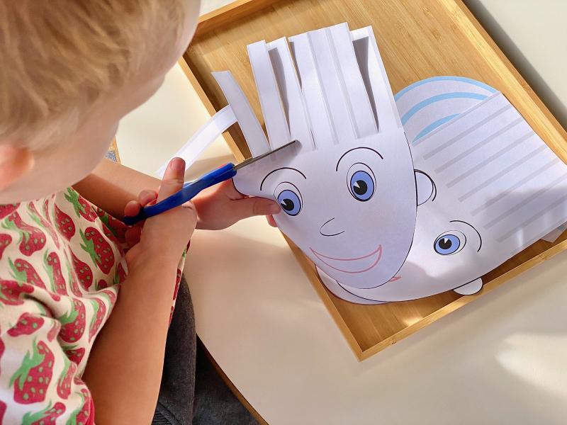 Hair cutting activity sheet at How we Montessori