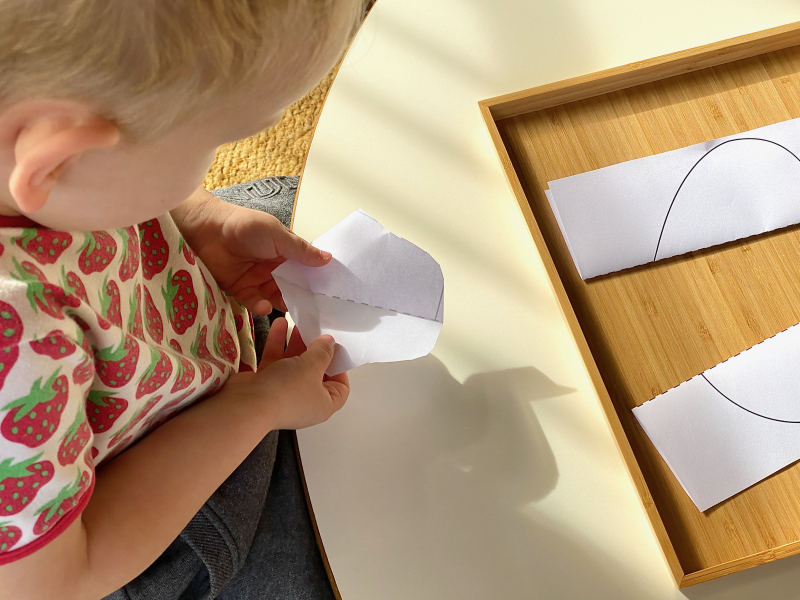 Folded cutting sheets at How we Montessori