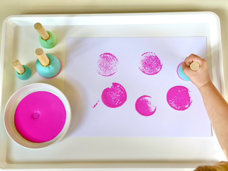 Round paint stampers at How we Montessori