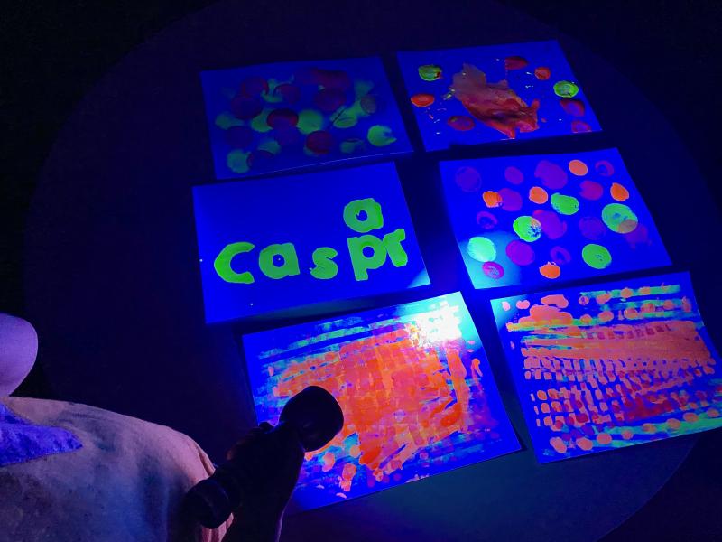 UV paint at night at How we Montessori