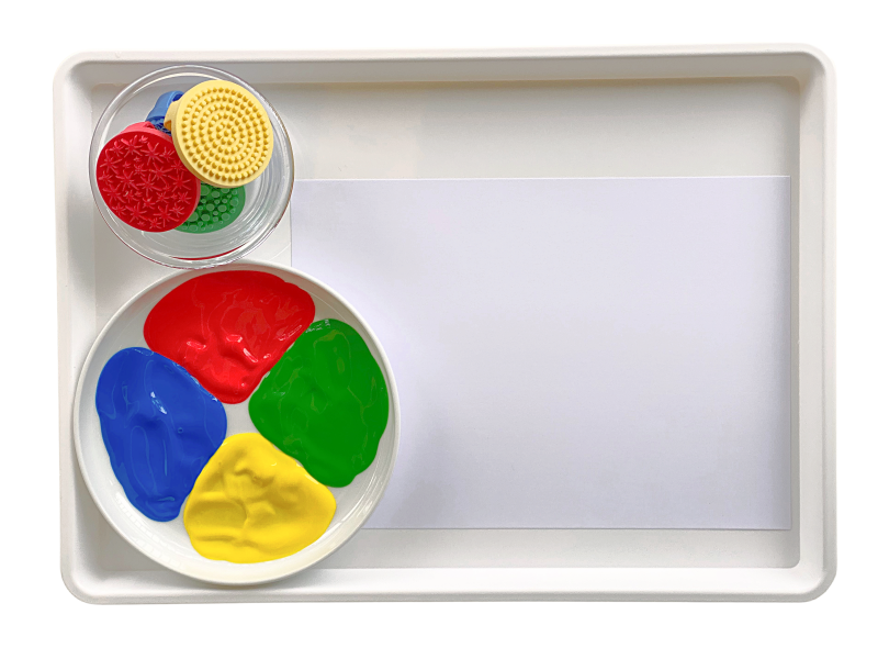Textured stampers painting tray at How we Montessori
