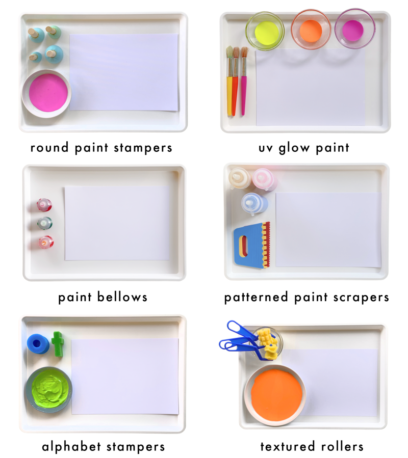 Painting tools ideas work trays at How we Montessori modern teaching aids (1)