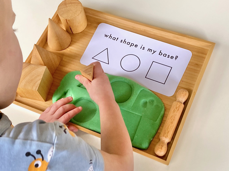 What shape is my base with playdough at How we Montessori