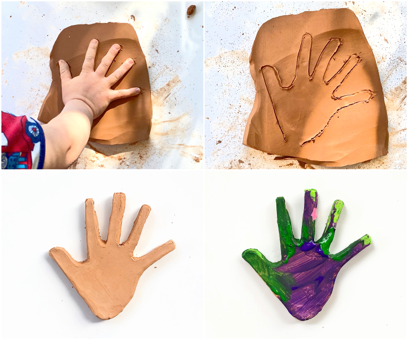Clay hands with kids at How we Montessori at three year old