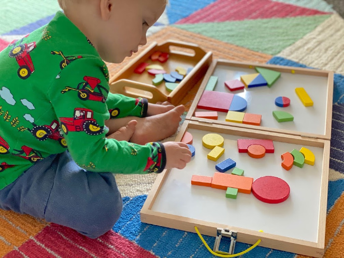 Play with magnetic shapes at How we Montessori
