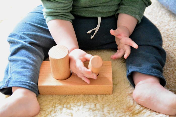 Montessori posting activity at 14 months