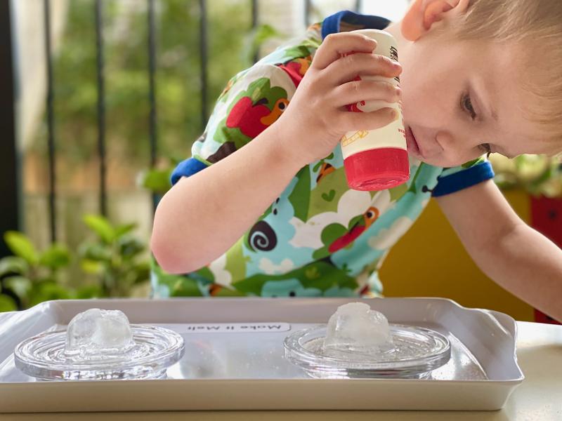 Salt ice experiment at How we Montessori