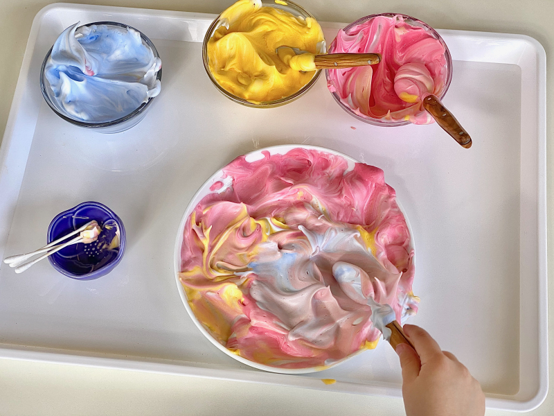 Colour mixing with shaving cream at How we Montessori