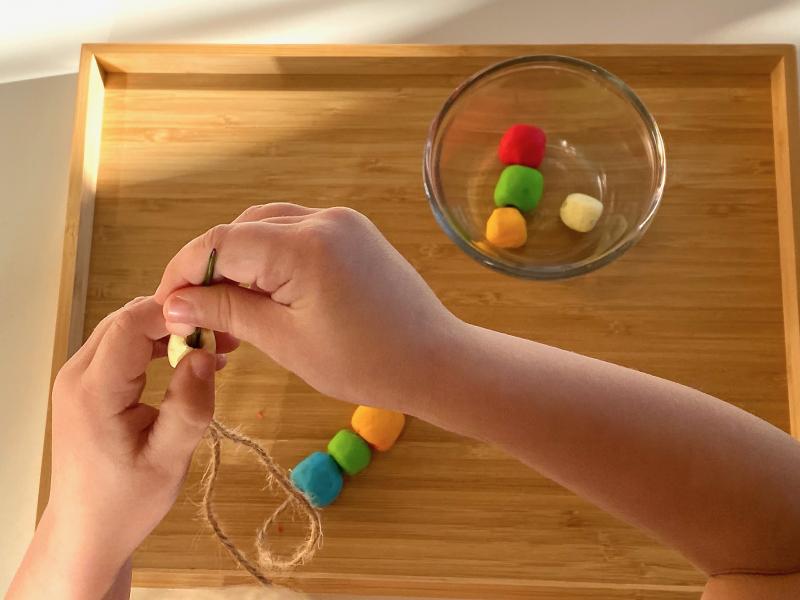 Threading FIMO beads at How we Montessori (2)