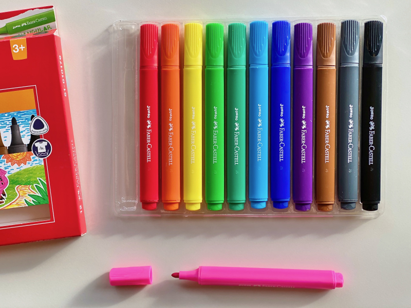 Faber-castell Jumbo Triangular Markers for three year olds at How we Montessori