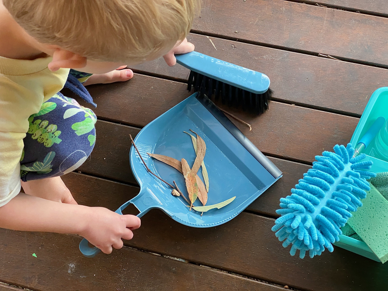 One dollar dustpan and brush at How we Montessori Otto three years old