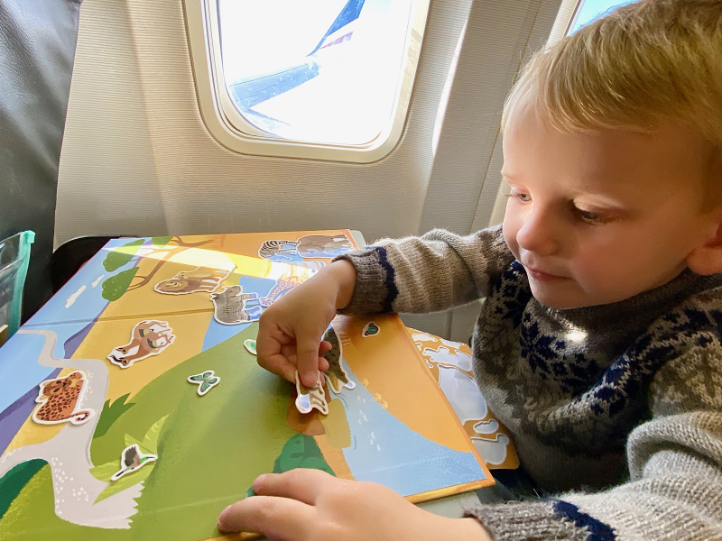 Movable sticker on airplane at How we Montessori tiger tribe activity