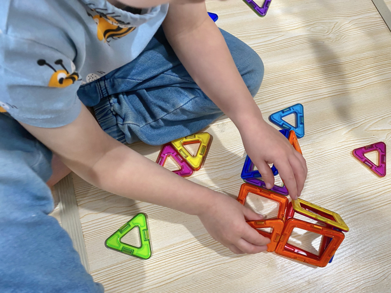 Magnetic tiles activity at How we Montessori