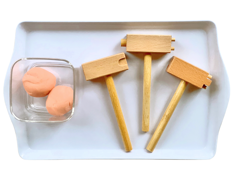 Play dough tray 1 hammering tools at How we Montessori (2)