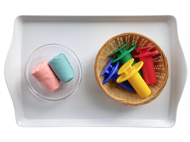 Play dough extruder trays to rotate at How we Montessori