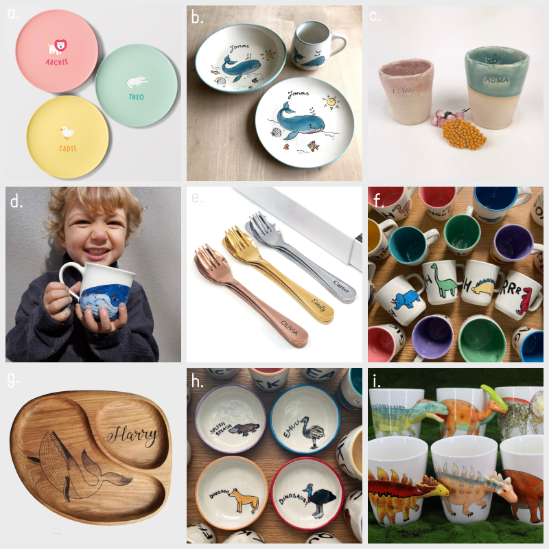 Handmade kids ceramic cups and plates at How we Montessori Etsy June