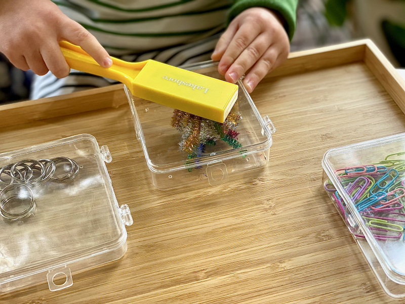 Magnet play trays at How we Montessori three year old preschool exploration tray