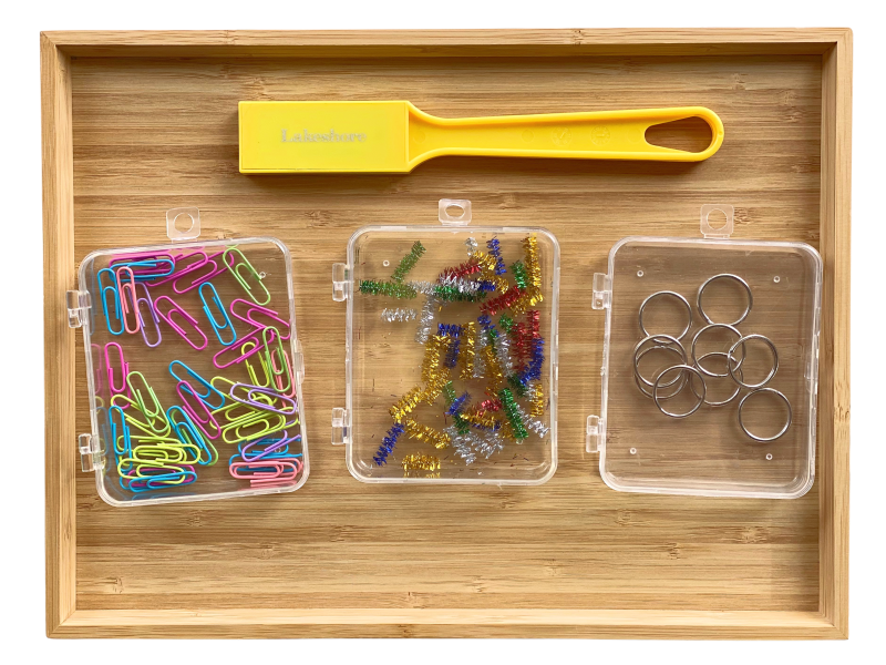 Magnetic activity tray with paperclips at How we Montessori (1)