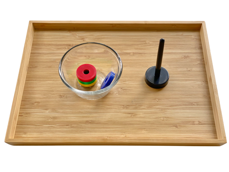 Magnetic rings activity tray at How we Montessori