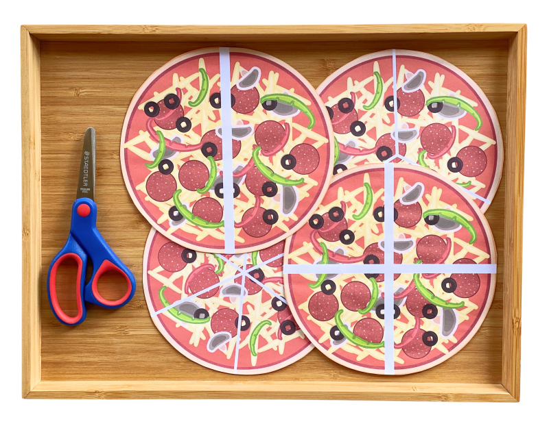 Pizza cutting scissor practice cards activity at How we Montessori preschool (1)