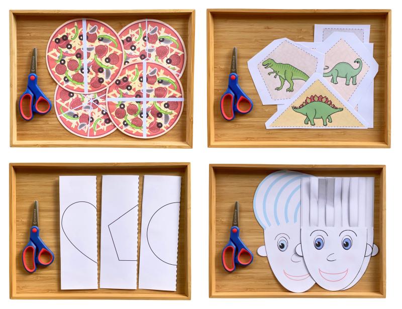 Cutting Scissor Tray Sheet Activities pizza  dinosaurs  hair  folded shapes preschool