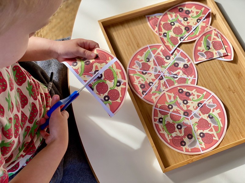 Cutting pizza shapes scissor work at how we montessori three four year old