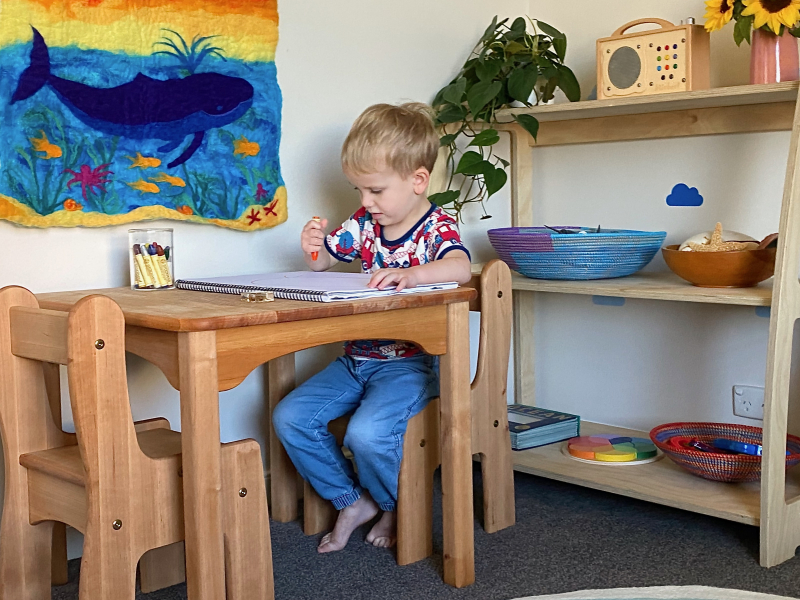 Montessori bedroom at three years at how we montessori wooden furntiure (1)