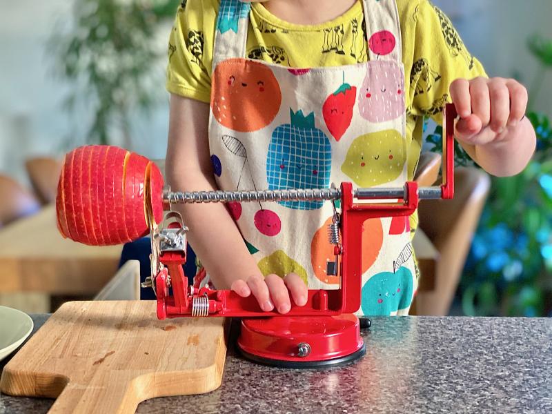 Roast potato spirals at How we Montessori kids in the kitchen