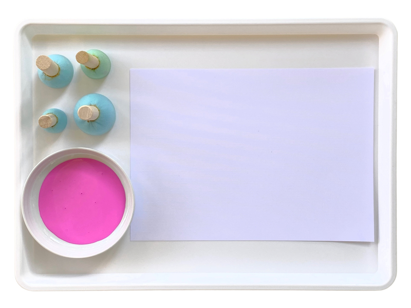 Painting trays at How we Montessori round stampers spongejpeg