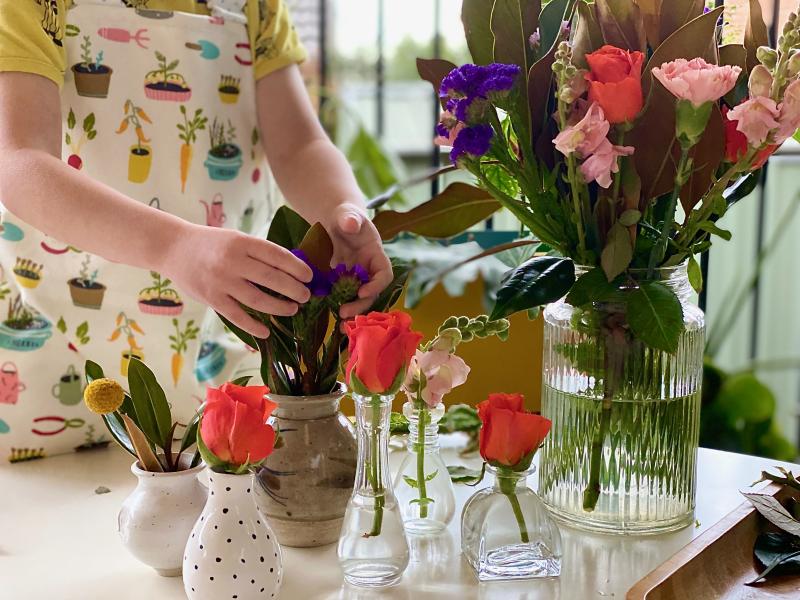 Montessori flower arranging at How we Montessori