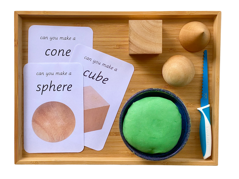 Making geometric shapes with play dough at How we Montessori