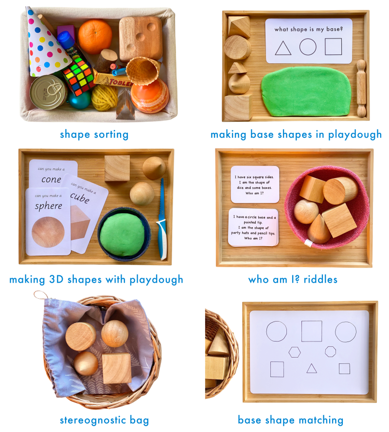 How we Montessori Geometric Solid Activities preschooler shape sorting