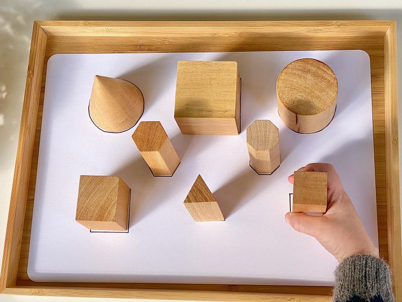 Matching base geometric solids at How we Montessori