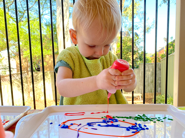 Painting with squeeze bottles How we Montessori